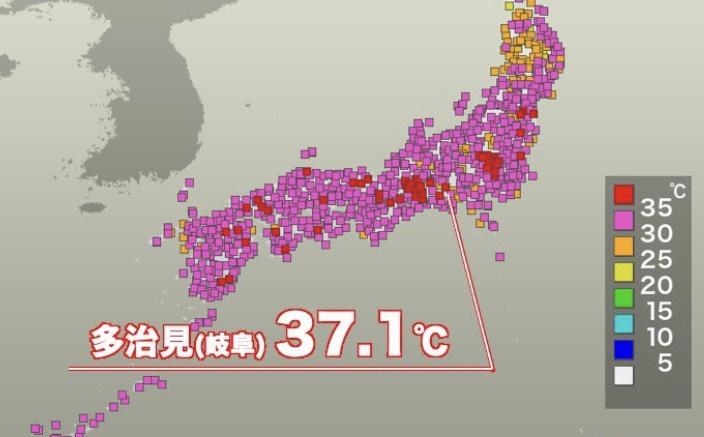 真夏日・猛暑日地点の最多更新 岐阜・多治見で37℃超え